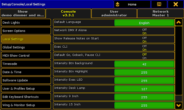 Local settings - grandMA2 User Manual - Help pages of MA
