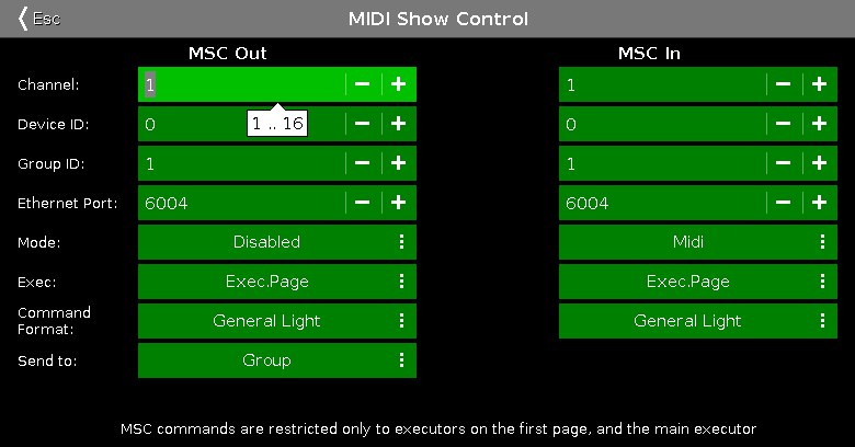 MIDI Show Control Window - dot2 User Manual - Help pages of