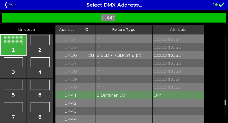 Figure 1 Select DMX Address.  sc 1 st  MA Lighting & Select DMX Address... Window - dot2 User Manual - Help pages of MA ...